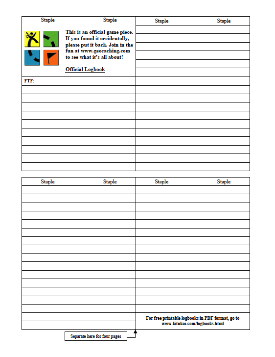 photo about Printable Geocaching Logs named Unled Record